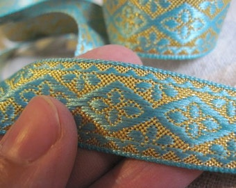 AQUA FLOWER in DIAMOND ornate jacquard ribbon