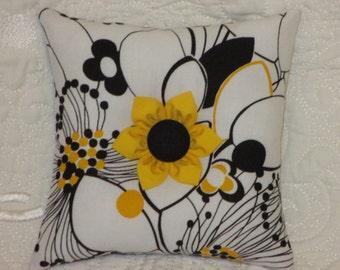 Pincushion - Square Handmade Pin Cushion - Yellow Black and White Floral Fabric