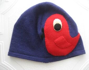 Midnight Blue Cashmere Little Bird Hat, Adult