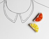 Orange Slice Brooch - Fruit Felt Pin - Fun Summer Accessories