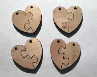 Unfinished Wooden Two Heart Earrings/Pendants/Beads (2 Pairs)