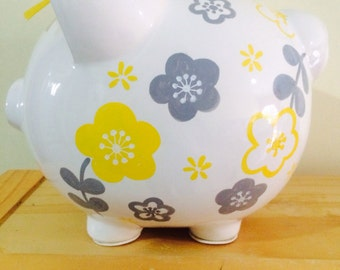 Personalized Large yellow/ grey flowers Piggy  Bank Newborns , Birthday,Girls,Flower Girl,Baby Shower Gift Centerpiece