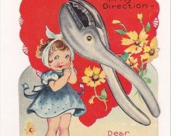 MECHANICAL VALENTINE CARD, 1930's, Little Girl with Toothache, Moving Pliers, Vintage Holiday Ephemera Greeting