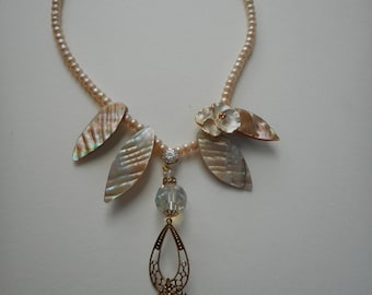 Peach Pearl Luster fantasy fairy necklace