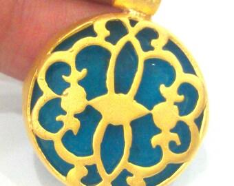 28 mm Blue Pendant , Gold Plated Brass  Bezel G1713