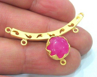 42x11 mm Pink  Connectors , Gold Plated Brass  Pendant, G2039
