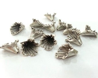 2 Pcs (16x12 mm) Antique Silver Plated Brass  Cones , Findings G2679