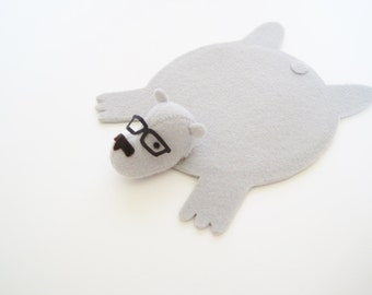 Bear Rug Coaster with Eyeglasses