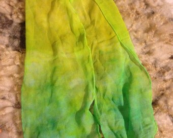 "Silk chiffon hand dyed scarf 7"" x 44"" long yellow to green"