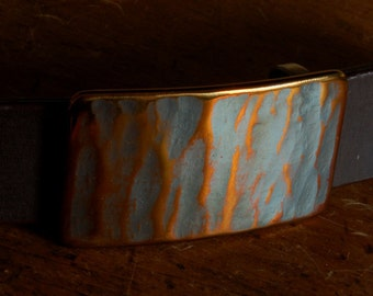 """Molten BUCKLE Hypoallergenic Copper Gold Patina Men's Women's Belt Buckle Hand Forged Textured Stainless Steel FITS 1-1/4"""" BELT Suits/Casual"""