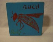OUCH Winged Stinger Folk Art Outsider Art Rongo Painting on Cigar Box