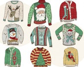 Ugly Sweater ClipArt, Christmas ClipArt, Digital Graphics, DIY Printable Party Decor, Christmas Card Graphics Download, Holiday Clip Art