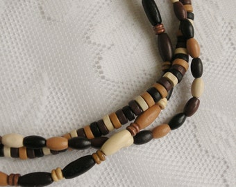 Triple Strand Wood Necklace - Natural, Light Brown, Dark Brown and Black