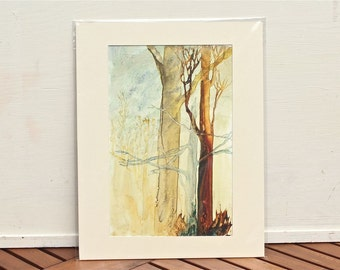 Watercolor painting reproduction Ghost Trees PRINT  Fine Art Giclee Print- matted ready to frame!