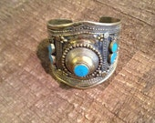 Vintage Afghan Turquoise Adjustable Cuffs