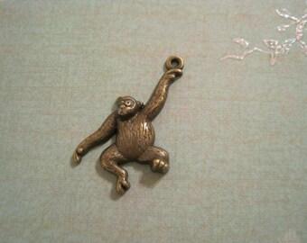 set of 6 antique bronze chimpanzee charms