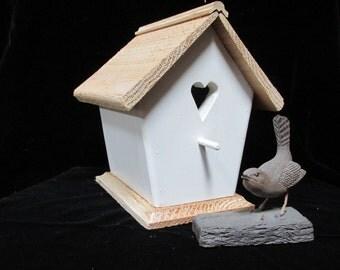 Handmade Antique White Wren House, Bird House, Garden Decor