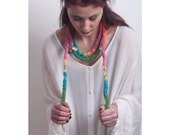 Colorful Long Necklace Scarf Handknitting