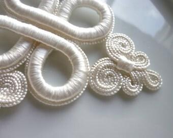 Moroccan cream art silk  thread  diamond arabesque embellishment,wedding applique
