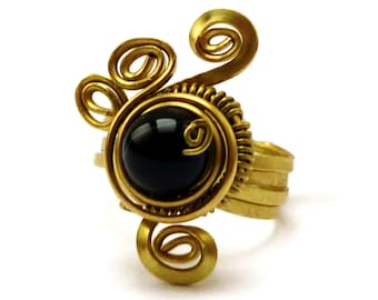 Steampunk Brass Ring, Gold Ring, Wire Wrap Ring, Black Onyx Ring, Gemstone Ring, Cocktail Ring, Spiral Ring, Womens Ring, Elegant Ring