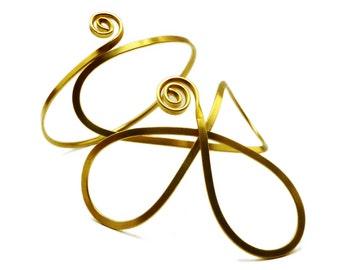 Brass Arm Band, Flower Arm Bracelet, Gold Upper Arm Band, Egyptian Armlet, Upper Arm Cuff, Upper Arm Bangle, Gold Arm Cuff, Festival Jewelry