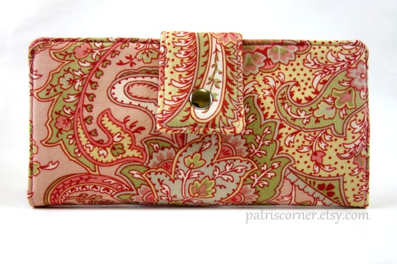 ON SALE - Handmade women's clutch wallet pink Sweet fresh paisley floral - ID clear pocket - Ready to Ship