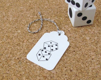 Glittery Dice Stamped White Gift Tags set of 24 with Black and White Bakers Twine