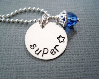Super star necklace-sterling silver statement jewelry-hand stamped-personalized-gift for girls women-friend gift-engraved custom charm