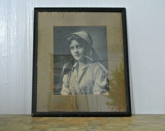 "Antique ""A Hay Seed"" Framed Matted Photographic Signed Print by the Tonnesen Sisters 1899-Sepia-"