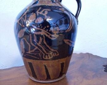 Fun whimsical Folkart Dog & Cat Stoneware Handled Jug ~ Mystery Artist