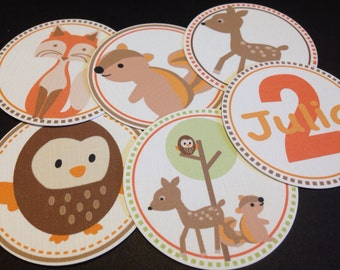 "Forest Friends, 75 Personalized Party Circles 1.5"", Used for Cupcake Toppers, Favor Tags and Party Decorations"
