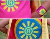 Girls PERSONALIZED SUNSHINE Cape + Matching customized t shirt iron on decal + custom wristbands - Girls Easter gift