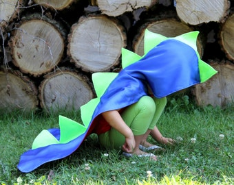 DINOSAUR Costume Cape with spikes + dino hood - Reverses to solid color hero cape - Dress Up Costume - Kids Halloween Dino Costume