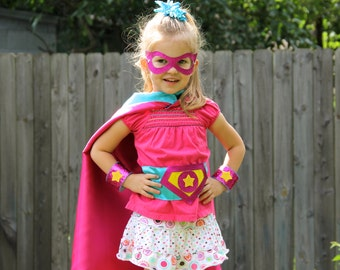 Personalized Girls SUPERHERO COSTUME SET - Includes cape with child's initial plus 3 accessories - wrist bands - hero belt - mask