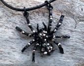Goth Rhinestoned Black Spider Pendant on Leather Cord