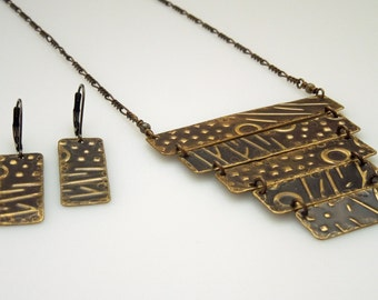 OOAK Brass Ladder Necklace Set - Jungle