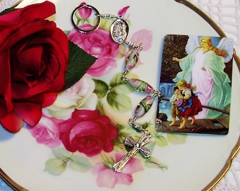 Unbreakable One-Minute Traffic Rosary - Catholic Chaplet - Guardian Angel Car Rosary - Key Ring Catholic Rosary - Commuter Rosary