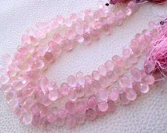 1/2 Strand Super Finest Quality, SUPER---ROSE Quartz Micro Faceted Drops Briolettes,9-10mm Aprx.