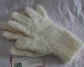 Pure Hand Raised Angora Gloves - Natural White