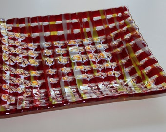 Red Basketweave Platter in Fused Glass
