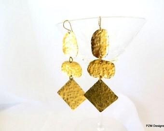 Long bohemian earrings, very long gold gypsy earrings, modern metal jewelry, gift under 40