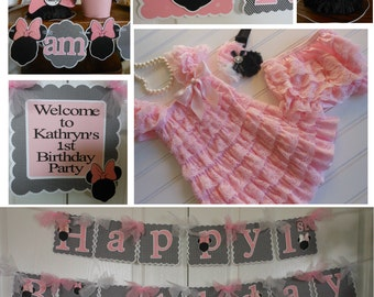 Minnie Mouse Light Pink and Silhouette -1st Birthday Party Package