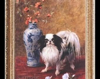 Japanese Chin Dog Miniature Dollhouse Art Picture 1484