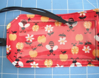 Pet Carrier I. D. Tag / Bees / Fabric Tag with Vinyl Pocket Sleeve / Luggage Tag / ID Tag / Handmade Tag