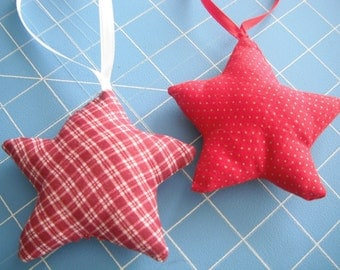 Fabric Star Ornaments /  set of two / Red Plaid Homespun