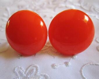 Vintage Bright Neon Orange Button Style Screw Backed Earrings