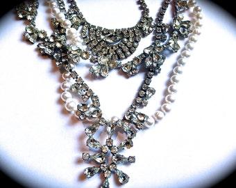 Wedding Chunky Pearl Rhinestone Bib Necklace-Tom Binns Inspired Assemblage Bib Statement Necklace- Handmade One of a Kind Estate Jewelry