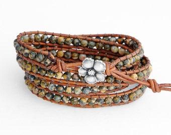 Leopardskin Jasper 4X Beaded Leather Wrap Bracelet, Four Wraps, 4mm Leopardskin Jasper beads, distressed leather
