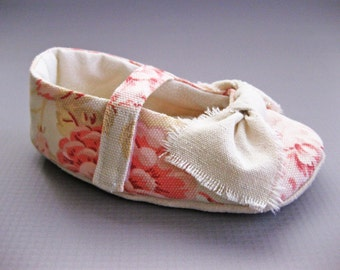 Girls floral print shoes, toddler girl shoes, fabric baby shoes, pink coral girls shoes, Velcro strap baby shoes - Edith