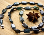 Moss kyanite & sterling silver necklace- Dark Forest
